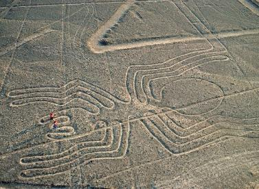 The Nazca Lines in the desert (can you see the two people?)